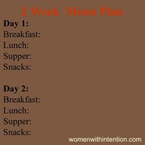 2 Week Menu Plan Example