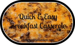 Quick & Easy Breakfast Casserole!  Only takes 45 minutes to bake and your family will have a yummy, hearty breakfast!