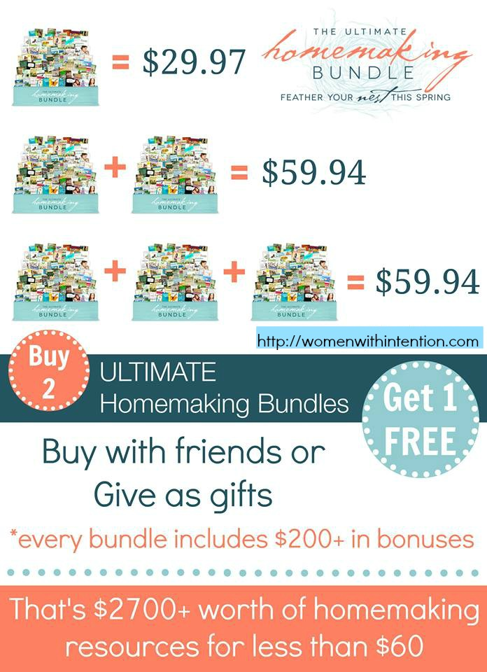 Hurry! Last Day To Purchase The Ultimate Homemaking Bundle: $698 of Homemaking ebooks + more than $200 worth of bonuses for just $29.95!  Ends Tonight