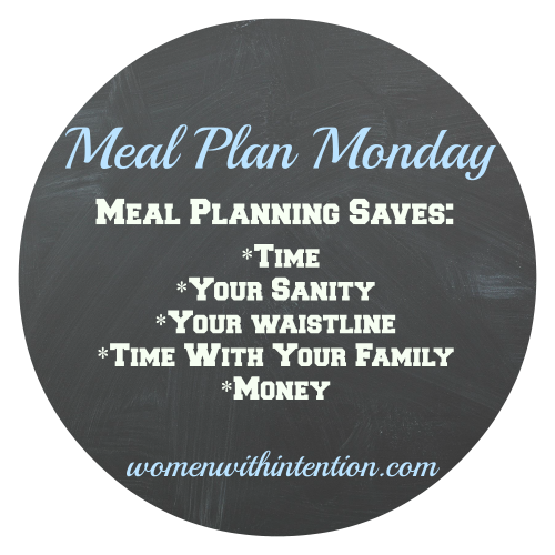 meal planning saves my sanity (and a lot of money by not visiting the nearest drive thru). Each Monday, I quickly sketch out my meal plan for the week. Here's this week's meal plan!