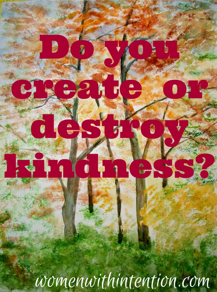Do you create kindness or destroy kindness?