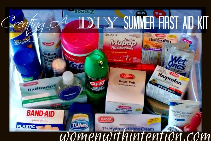 Summer vacation is almost here.  As we've been making a summer bucket list, many of the bucket list activities involve being on the go!  I want all of those activities to be fun whether or not someone gets a scraped knee so it's important to be prepared!  Having a DIY summer first aid kit not only saves panic when accidents do happen, it also makes it so we can continue having fun after the accident happens!