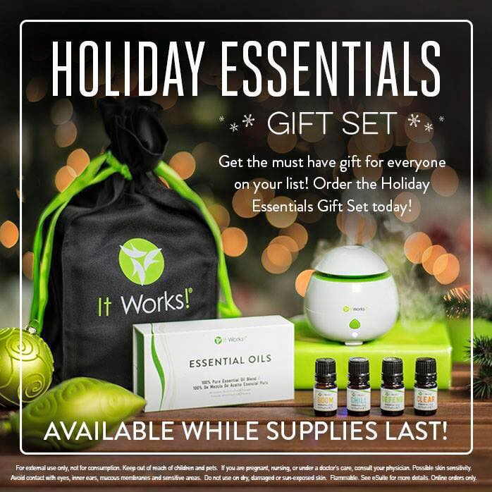 It Works! is ready to help with your holiday shopping! Choose between 2 holiday sets (Merry, Clean & Bright or Yule-Tighten Greetings) & a Holiday Essentials Set with pure, uncut essential oils to get started!