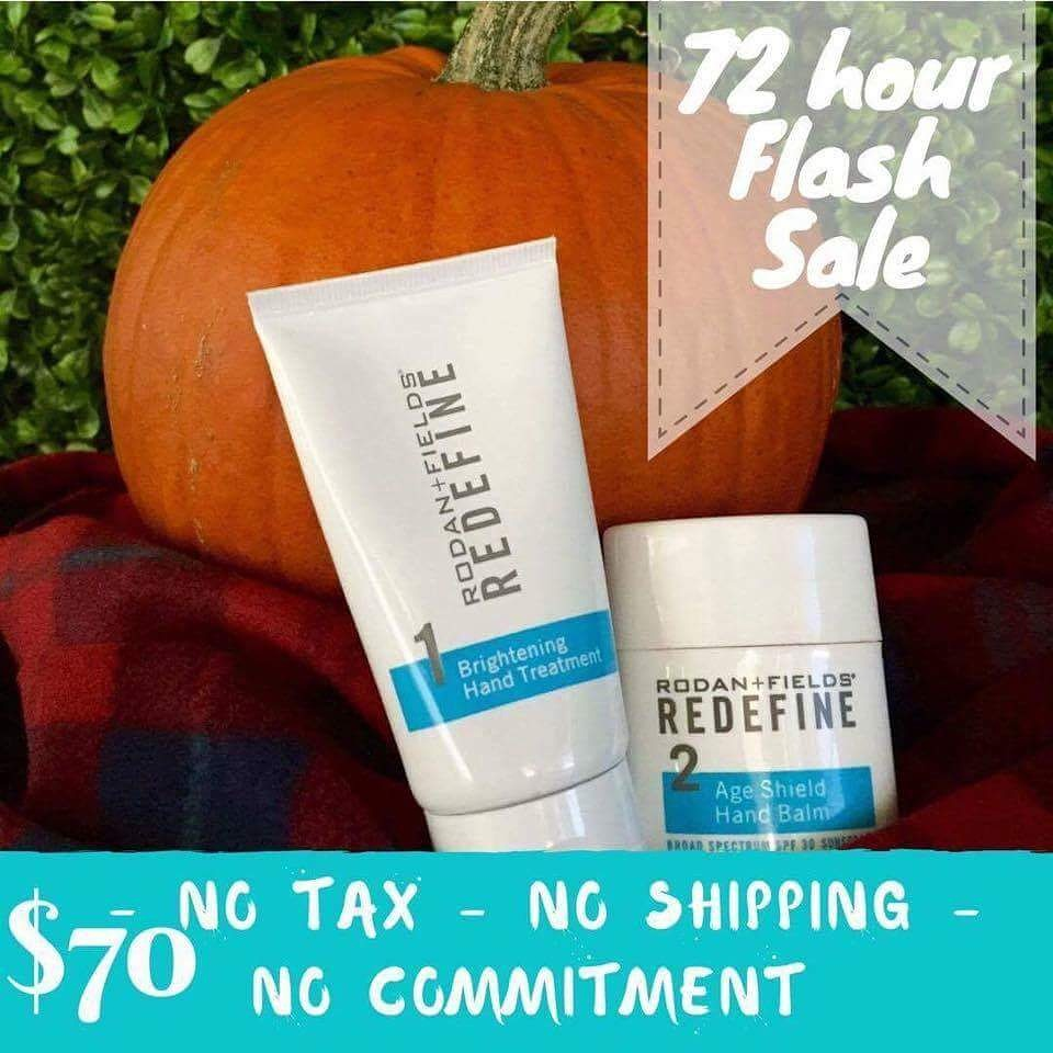 🍂It's FALL Y'ALL! 🍂FLASH SALE ALERT🍂 FALL in ❤️ with your hands again! Cooler weather is coming (YAY!) and you need to REPAIR that damage from the Summer sun/chlorine/heat and PREPARE your hands for that cooler weather headed our way! Don't let your hands tell your age! Rodan + Fields Hand Regimen will REPAIR, PROTECT, MOISTURIZE, REVERSE brown spots AND RESTORE ELASTICITY in your hands! I mean---> You NEED THIS! Get it for the next 72 hours at a DEAL!!! $70, No TAX, NO SHIPPING & NO COMMITMENT!!! You have until Wednesday night to let me know if you want one (or two!) get an extra for your mom at my FLASH SALE PRICE! (These would make awesome Christmas gifts, too!)🍂🍂